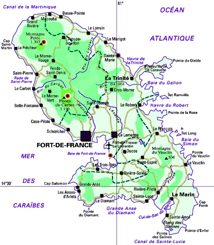 Carte Geographique Martinique